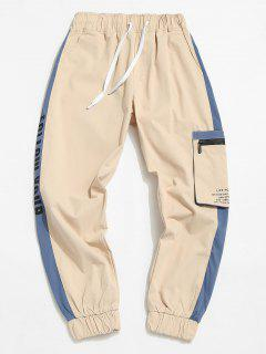 Contrast Panel Letter Print Cargo Pants - Light Khaki M
