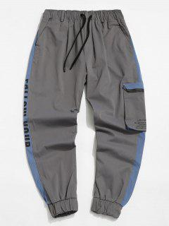 Contrast Panel Letter Print Cargo Pants - Light Gray L