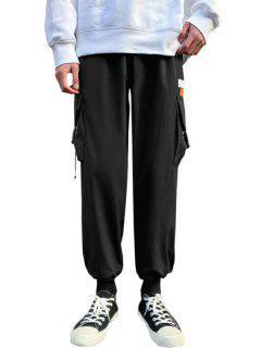Pantalon Cargo Lettre Patch Avec Multi-Poches - Noir Xs