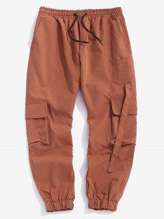 Multi Pockets Patched Cargo Pants - Dark Orange S
