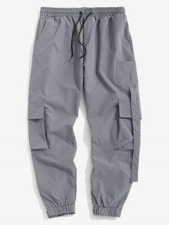 Multi Pockets Patched Cargo Pants - Gray L