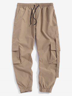 Multi Pockets Patched Cargo Pants - Light Khaki Xs