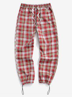 Plaid Pattern Toggle Cuff Drawstring Pants - Red S