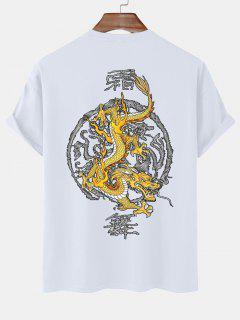 Maglietta Con Stampa A Drago Stile Cinese Con Maniche Corte - Bianca Xl