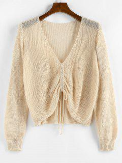 ZAFUL Solid Cinched Front V Neck Plus Size Sweater - Light Yellow Xl