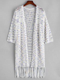 ZAFUL Plus Size Openwork Tie Dye Fringed Cardigan - Multi L