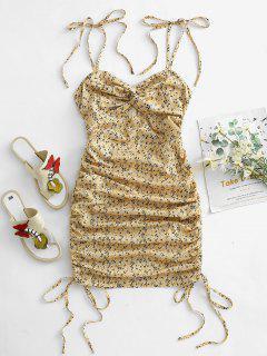 Ditsy Floral Tie Shoulder Cinched Twist Mini Dress - Light Yellow M