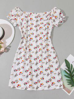 Tiny Floral Off Shoulder Frilled Mini Dress - White M