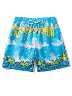 Letter Cloud Mushroom Print Vacation Shorts - Deep Sky Blue M