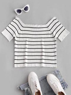 ZAFUL Plus Size Rib-knit Lettuce Trim Striped Knitwear - White 2xl