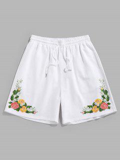 ZAFUL Flower Print Drawstring Sweat Shorts - White M