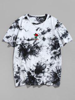 ZAFUL Rose Flower Embroidered Tie Dye Print T-shirt - Black M