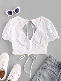 ZAFUL Tied Cut Out Back Eyelet Puff Sleeve Blouse - White S