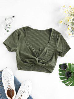 ZAFUL Ribbed Twisted V Notch Crop T Shirt - Deep Green M