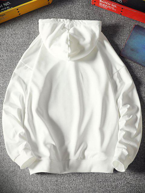 best Luminous Drippy Happy Face Print Drop Shoulder Hoodie - WHITE S Mobile