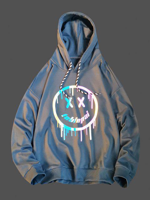 Luminous Drippy Happy Face Print Drop Shoulder Hoodie - الحرير الأزرق XS Mobile