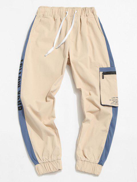 affordable Contrast Panel Letter Print Cargo Pants - LIGHT KHAKI L Mobile