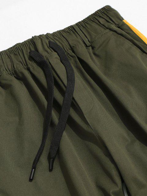 fancy Contrast Panel Letter Print Cargo Pants - SEA TURTLE GREEN L Mobile