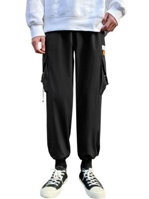 best Letter Patches Multi-pocket Cargo Pants - BLACK M Mobile