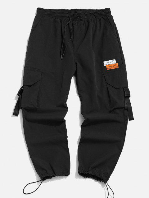Pantalones de Cargo de Multi-bolsillo con Estampado de Letras - Negro L Mobile