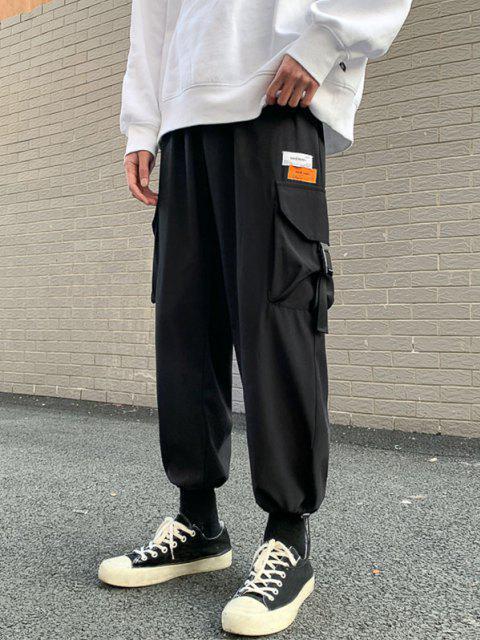 Pantalones de Cargo de Multi-bolsillo con Estampado de Letras - Negro XS Mobile