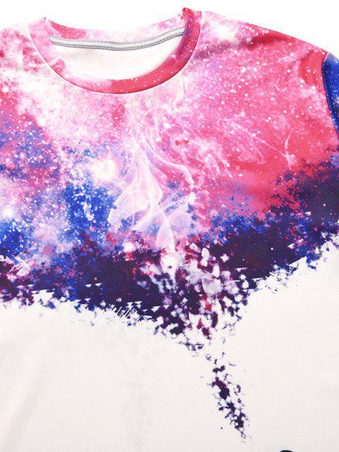 T-Shirt a Maniche Corte con Stampa Galaxy - Bianca XXL Mobile