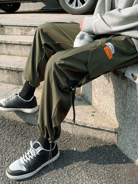 Pantalones de Cargo de Multi-bolsillo con Estampado de Letras - Verde de Jungla  M Mobile
