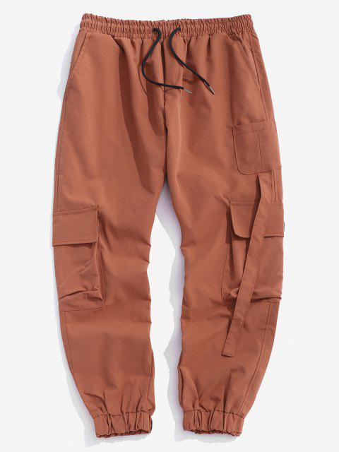 unique Multi Pockets Patched Cargo Pants - DARK ORANGE S Mobile