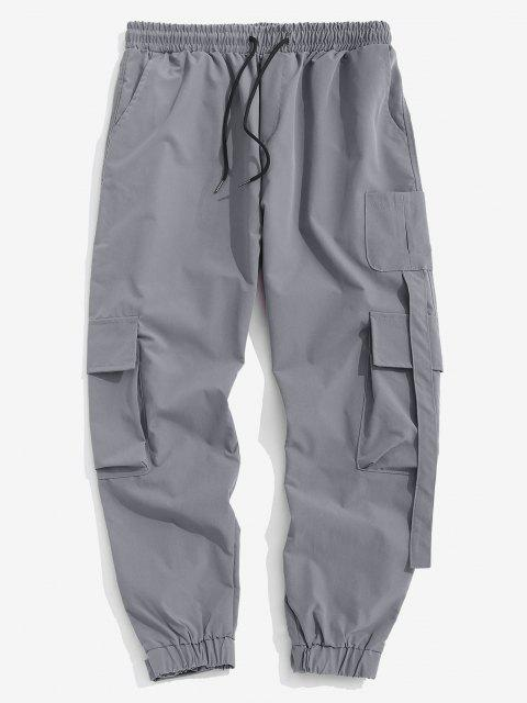 Pantalones Carga Parchado Multi Bolsillos - Gris M Mobile