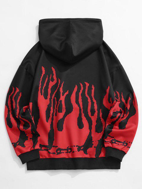 Sudadera con Capucha de Estampado de Flama - Negro XL Mobile