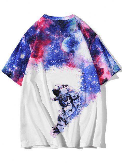 buy Galaxy Moon Astronaut Short Sleeve T-shirt - WHITE L Mobile
