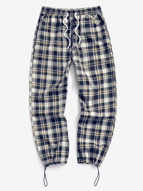 Plaid Pattern Toggle Cuff Drawstring Pants - منتصف الليل الأزرق L Mobile