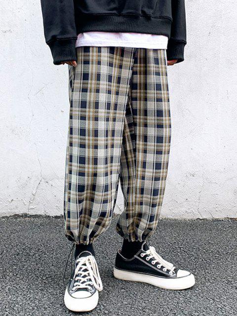 womens Plaid Pattern Toggle Cuff Drawstring Pants - MIDNIGHT BLUE L Mobile