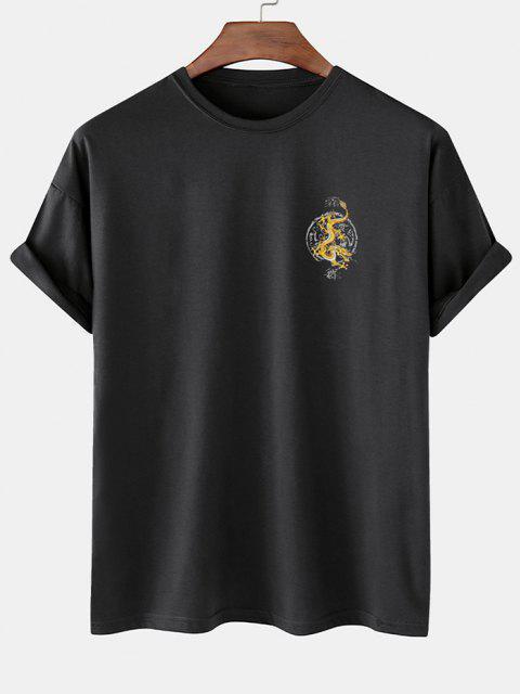 Maglietta con Stampa a Drago Stile Cinese con Maniche Corte - Nero M Mobile