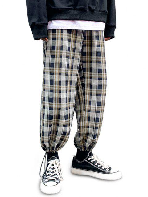 ladies Plaid Pattern Toggle Cuff Drawstring Pants - MIDNIGHT BLUE XS Mobile
