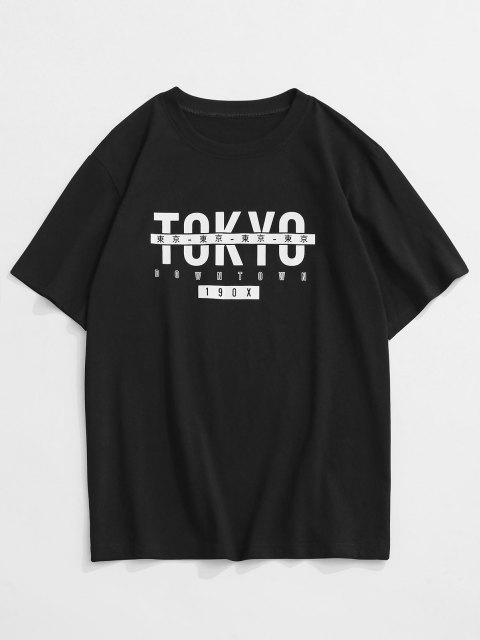 ZAFUL TOKYO Print Graphic T-shirt - أسود L Mobile
