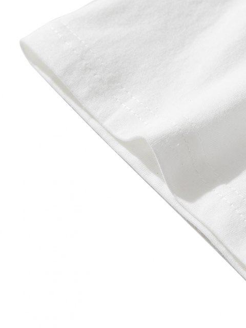 Maglietta con Stampa a Drago Stile Cinese con Maniche Corte - Bianca XL Mobile