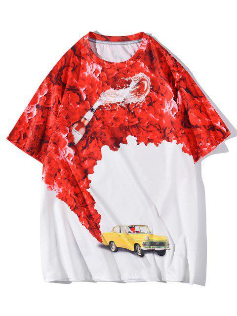 T-Shirt Stampata a Rose e Macchina con Maniche Corte - Bianca L Mobile