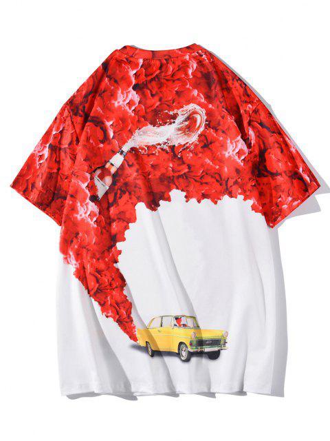 T-Shirt Stampata a Rose e Macchina con Maniche Corte - Bianca XL Mobile