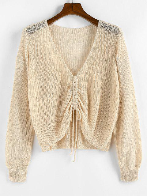 best ZAFUL Solid Cinched Front V Neck Plus Size Sweater - LIGHT YELLOW 2XL Mobile