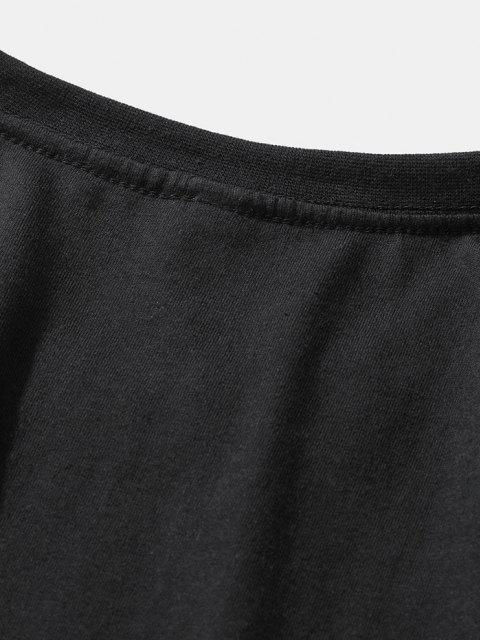 chic Slogan Short Sleeve Basic T-shirt - BLACK L Mobile