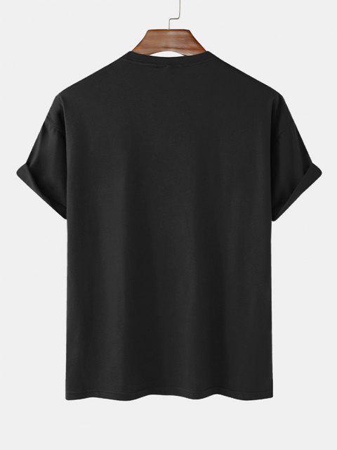 women's Slogan Short Sleeve Basic T-shirt - BLACK XL Mobile