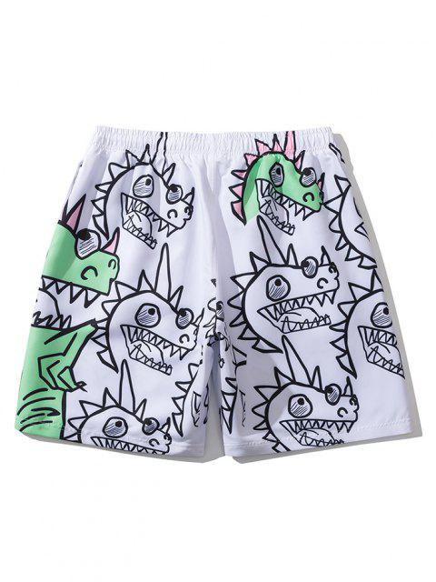 latest Hand-Painted Dinosaur Fun Print Drawstring Casual Shorts - WHITE XL Mobile