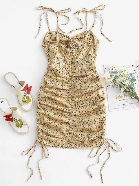 sale Ditsy Floral Tie Shoulder Cinched Twist Mini Dress - LIGHT YELLOW M Mobile