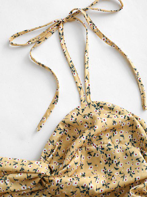 Mini Vestido con Hombros Descubiertos y Cinturón - Amarillo claro S Mobile