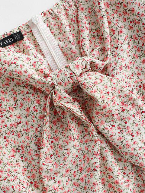 sale Tiny Floral Puff Sleeve Tie Front Milkmaid Dress - LIGHT PINK M Mobile