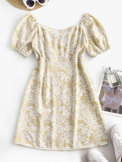 Printed Ruched Bust A Line Milkmaid Dress - القهوة الخفيفة S Mobile