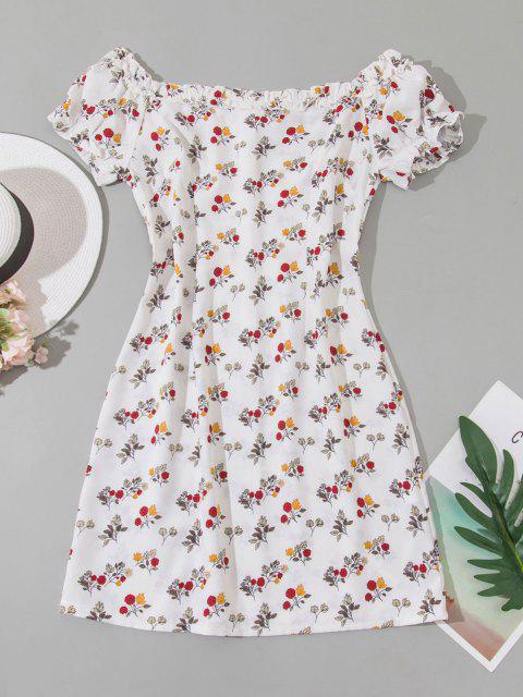 Winziges Schulterfreies Minikleid mit Rüschen - Weiß M Mobile