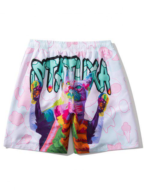 chic Iridescent Cat Letter Graphic Print Drawstring Shorts - PIG PINK 3XL Mobile