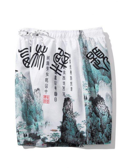 shops Ink Painting Print Oriental Casual Shorts - WHITE 2XL Mobile